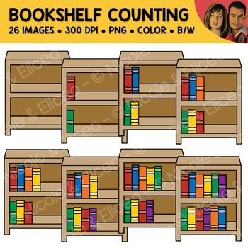 Bookshelf Counting Scene Clipart