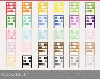 Bookshelf Digital Clipart, Bookshelf Graphics, Bookshelf PNG