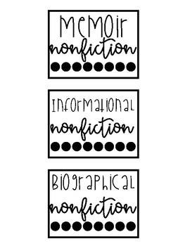 Bookshelf Genre Labels