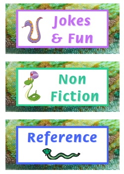 Bookshelf Labels - Snake Themed