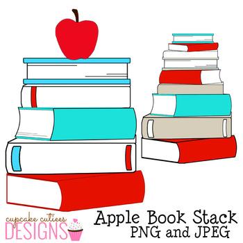 Bookstack Reading Book Stacks Blue Red Digital Clip Art Designs