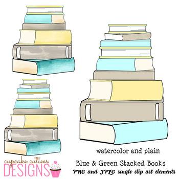 Bookstack Watercolor Digital Clip Art Designs