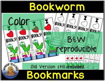 Bookworm Bookmarks -  Color and B&W