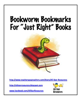 """Bookworm Bookmarks for """"Just Right"""" Books"""
