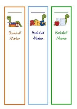 Bookworm Bookshelf Marker Reading Bookmark Classroom Library Management