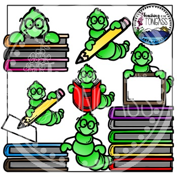 Bookworm and Book Clipart (School Clipart)