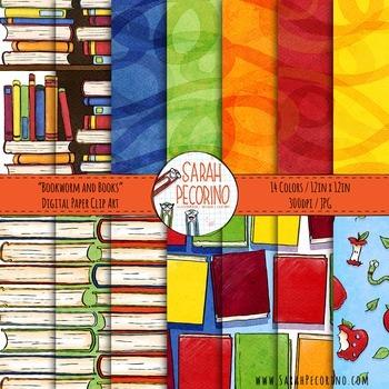 Bookworm Digital Paper Pack