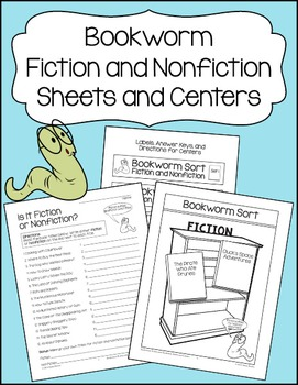 Bookworm Fiction and Nonfiction Sheets and Centers