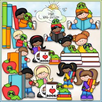 Bookworm Kids Clip Art - Reading Clip Art - Books Clip Art - CU Clip Art & B&W