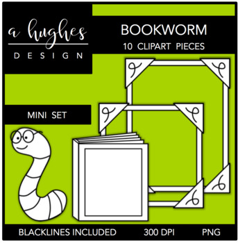 Bookworm Mini Clipart Set {A Hughes Design}