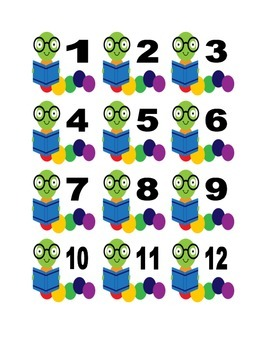 Bookworm Numbers for Calendar or Math Activity