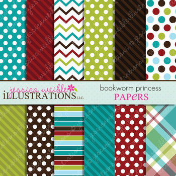 Bookworm Princess Matching Digital Papers, Autumn Papers, Polka Dots