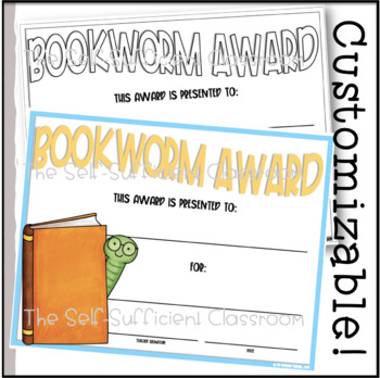 Bookworm Reading Award- Editable!