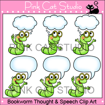 Bookworm Thought and Speech Clip Art - Personal & Commercial Use