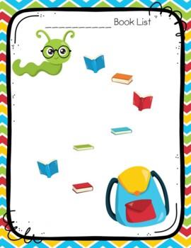 Bookworm Weekly Reading Sticker Chart
