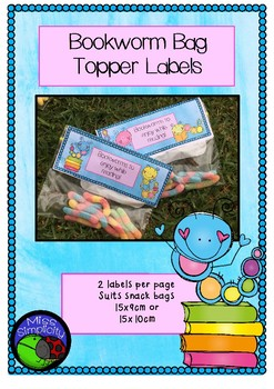 Bookworm bag toppers labels END START STUDENT GIFT