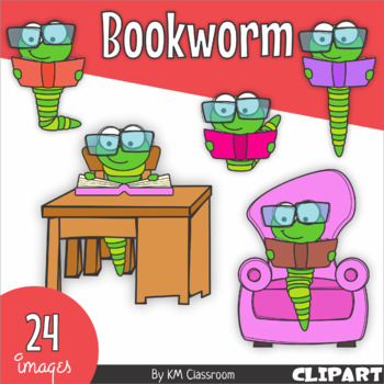 Bookworm with Glasses Back to School ClipArt