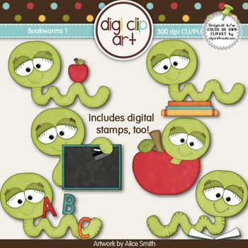 Bookworms 1-  Digi Clip Art/Digital Stamps - CU Clip Art