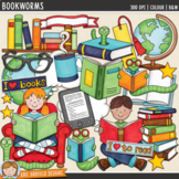 "Reading Clip Art: ""Bookworms"""