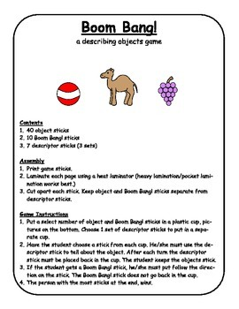 Boom Bang! VOCABULARY Game, SPEECH THERAPY