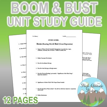 Boom & Bust Unit Study Guide (Roaring 20s through Great Depression)