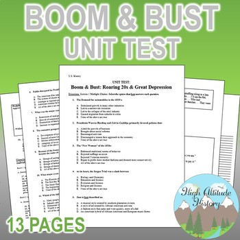 Boom & Bust Unit Test (Roaring 20s through Great Depression)