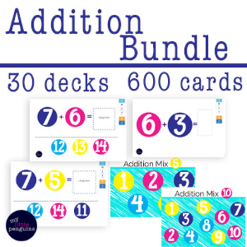 Boom Card Bundle Addition Facts 30 decks (600 fact cards)