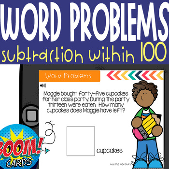 Boom Card Deck: 1 Step Subtraction Word Problems with AUDIO