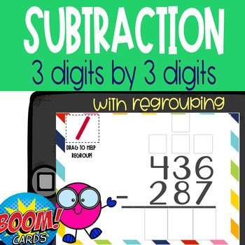Boom Card Deck: 3 Digit Subtraction WITH Regrouping