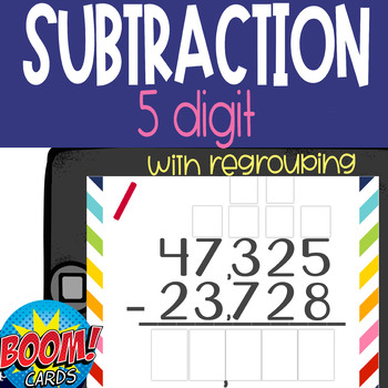 Boom Card Deck: 5 Digit Subtraction WITH Regrouping