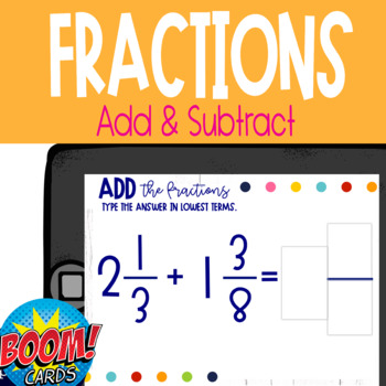 Boom Card Deck: Add and Subtract Mixed Fractions