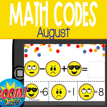 Boom Card Deck: August Math Codes (Add & Subtract within 20)