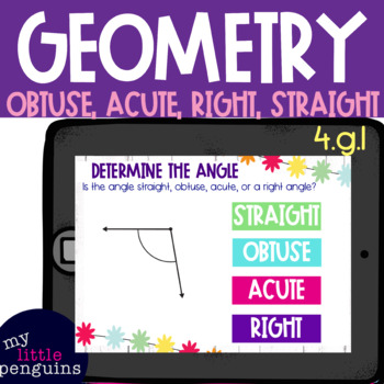Boom Card Deck: Determine Angles Acute, Obtuse, Right, Straight 4.g.1