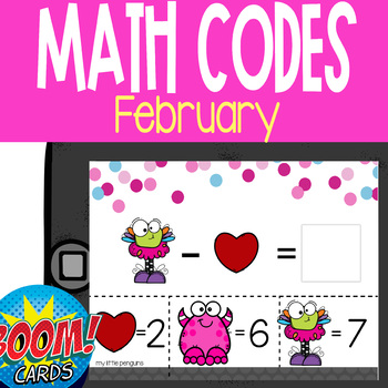 Boom Card Deck: February Math Codes (Add & Subtract within 20)