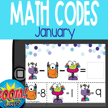 Boom Card Deck: January Math Codes (Add & Subtract within 20)