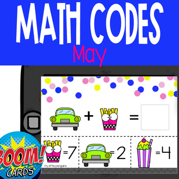 Boom Card Deck: May Math Codes (Add & Subtract within 20)