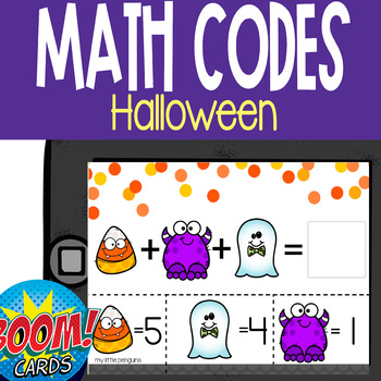 Boom Card Deck: October Math Code Addition