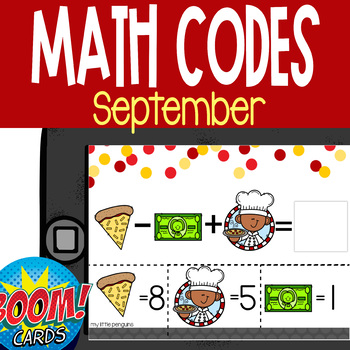 Boom Card Deck: September Math Codes (Add & Subtract within 20)