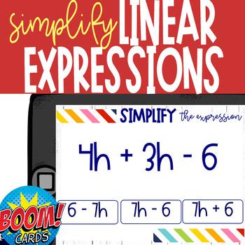 Boom Card Deck: Simplify Linear Expressions