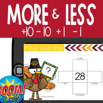Boom Card Deck: Turkey 10 and 1 More and Less