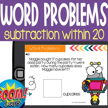 Boom Card Deck: Word Problems with Subtraction within 20