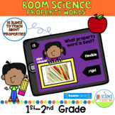 Boom Card Property Words Solids Science Pack