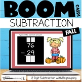 Boom Cards 2 Digit Subtraction with Regrouping {Fall} Digital Task Cards