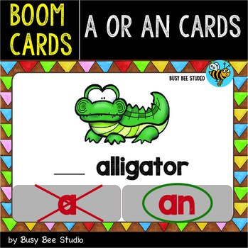 Boom Cards | A or An? | Easy Grammar for Young Learners