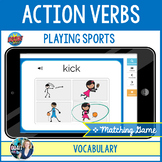 Boom Cards™ – Action Verbs: Playing Sports - Picture Matching Game   Audio