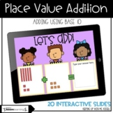 Adding Two Digit Numbers with Base 10 Blocks   Boom Cards™