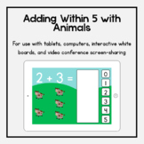 Boom Cards: Adding Within 5 with Animals