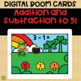 Boom Cards – Addition and Subtracting Facts to 5 Mixed Practice St. Patrick's