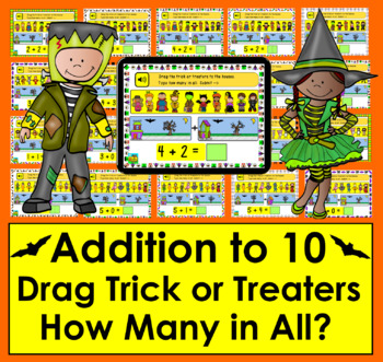 Boom Cards Addition to 10: Drag Trick or Treaters to Houses-Count & Type Answer