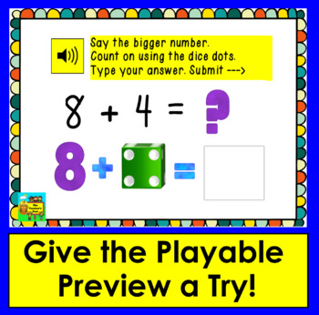 Boom Cards Math: Addition to 18: Counting On With Dice Dots - Type Answers